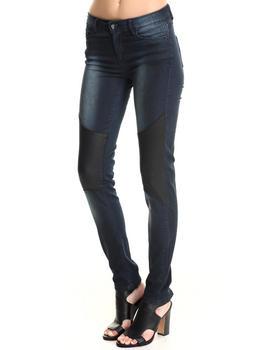 Bianco Jeans - Vegan Leather Knee Skinny Jean