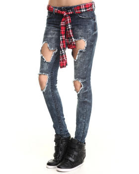 Almost Famous - Grunge Ripped Plaid Belt Mini Roll Jean
