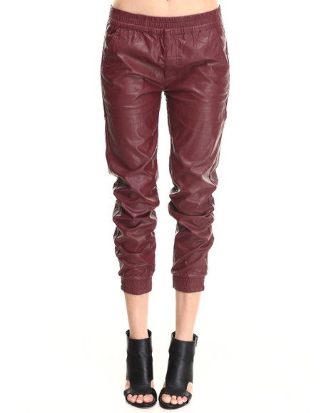 Bianco Jeans Maroon Vegan Leather Smocked Jogger