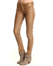 Women - Distressed Vegan Leather Skinny Jean
