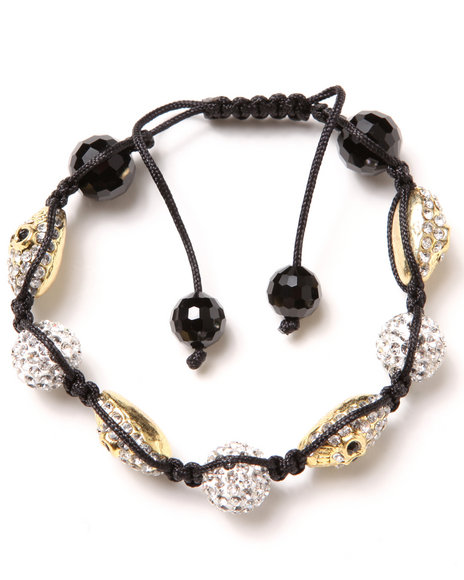 Drj Accessories Shoppe Men Crystal Skull Cord Bracelet Black