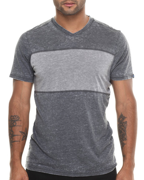 Buyers Picks - Men Black,Grey Burnout Contrast S/S V-Neck Tee