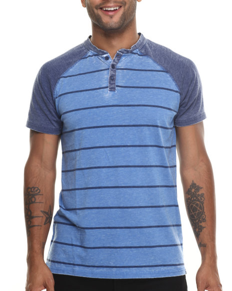 Buyers Picks - Men Blue Henley All Day Striped S/S Tee