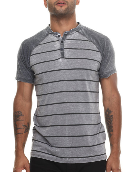 Buyers Picks - Men Charcoal Henley All Day Striped S/S Tee