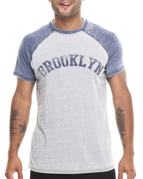 Buyers Picks - Men Grey,Navy Brooklyn Burnout Raglan S/S Tee