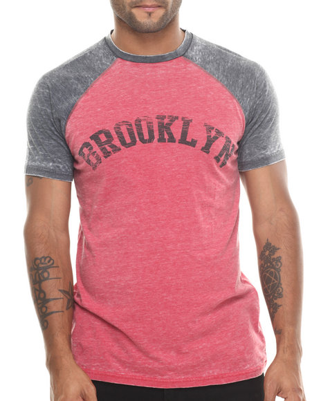 Buyers Picks - Men Red Brooklyn Burnout Raglan S/S Tee
