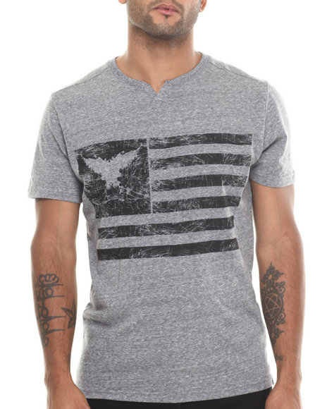 Buyers Picks - Men Grey Melange Distressed Notch Neck S/S Tee