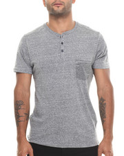 Buyers Picks - Melange Henley Stripe Pocket S/S Tee