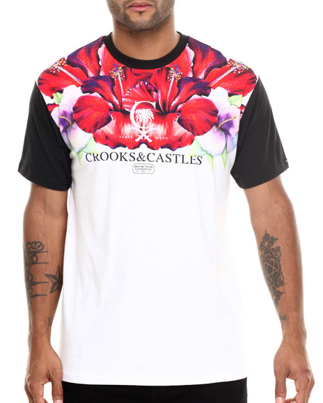 Crooks & Castles - Men Multi Hibiscus T-Shirt - $50.99