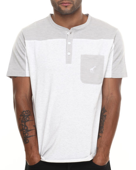 Lrg - Men Light Grey Biscuits S/S Henley