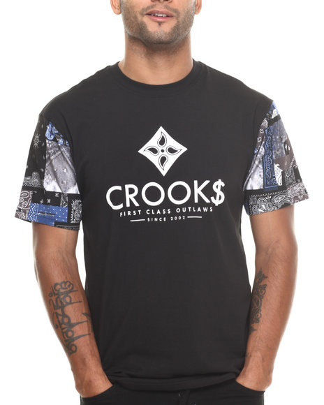 Crooks & Castles - Men Black Flags T-Shirt