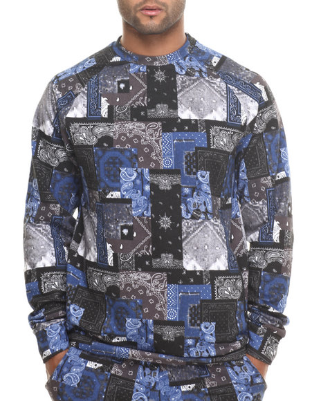 Crooks & Castles Black,Blue Luxe Bandir Crew Sweatshirt
