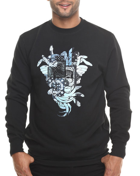 Crooks & Castles Black Patchwork Sweatshirt