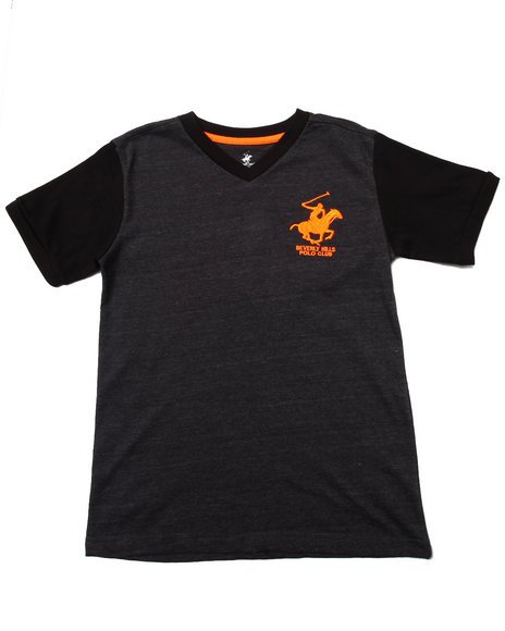 Arcade Styles - Boys Charcoal Jersey V-Neck Tee (8-20)