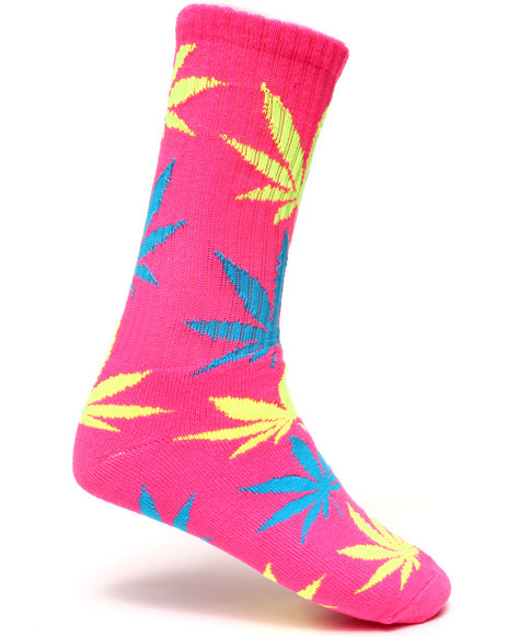 Huf Men Neon Plantlife Crew Socks Pink
