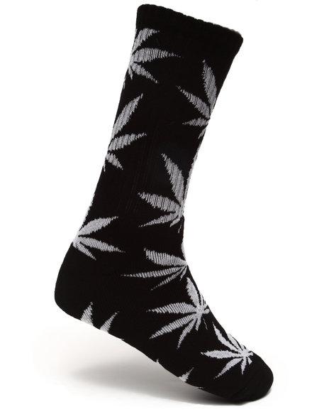 Huf Men Glow In The Dark Plantlife Crew Socks Black