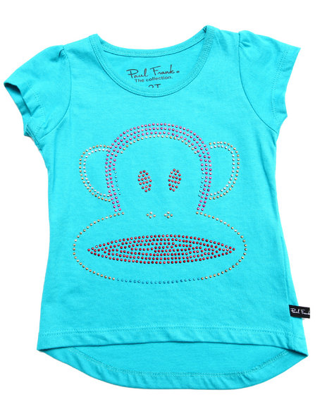 Paul Frank - Girls Teal Studded Face Tee (2T-4T)