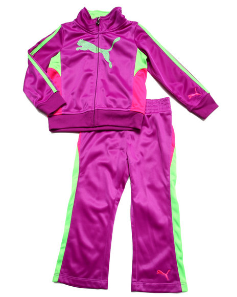 Puma - Girls Purple Cat Track Tricot Set (2T-4T)