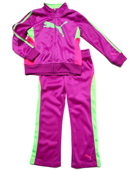 Puma - Girls Purple Cat Track Tricot Set (4-6X)