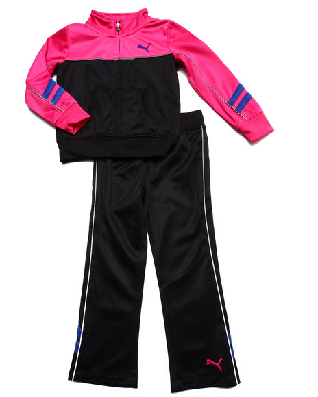 Puma - Girls Black Tricot Colorblock Set (4-6X)