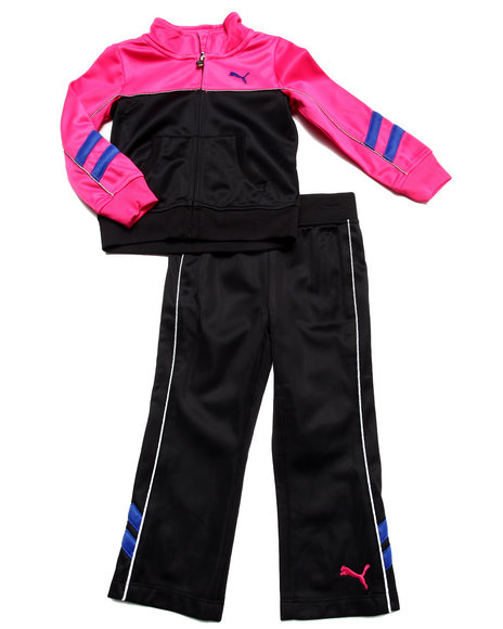 Puma - Girls Black Tricot Colorblock Set (2T-4T)