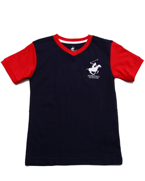 Arcade Styles - Boys Navy Jersey V-Neck Tee (4-7) - $5.99