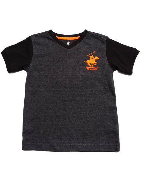 Arcade Styles - Boys Charcoal Jersey V-Neck Tee (4-7)