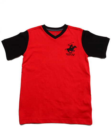 Arcade Styles - Boys Red Jersey V-Neck Tee (8-20) - $6.99