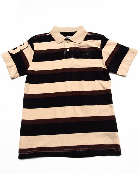 Arcade Styles - Boys Khaki Bold Y/D Stripe Polo (8-20)