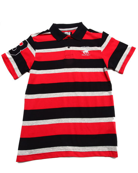 Arcade Styles - Boys Red Bold Y/D Stripe Polo (8-20)