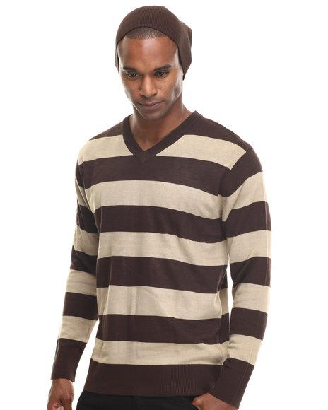 Basic Essentials - Men Brown Wide - Stripe Sweater W/ Beanie