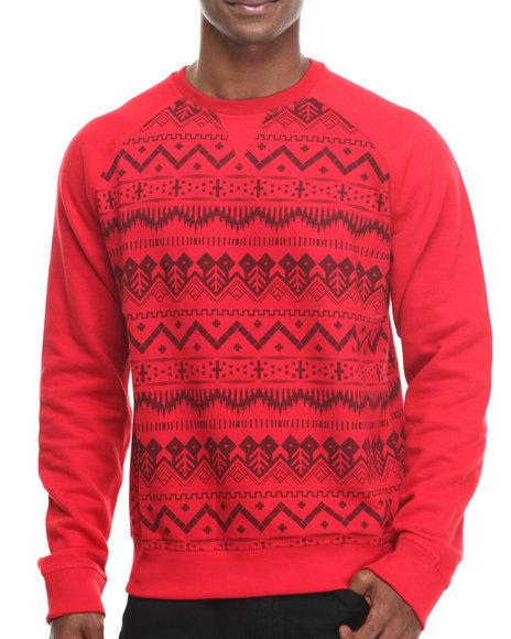 Basic Essentials - Men Red Nordic Crewneck Sweatshirt
