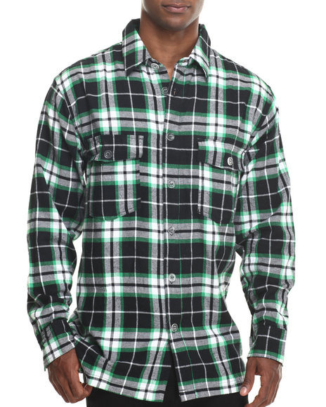 Basic Essentials - Men Green Two - Pocket Plaid L/S Button-Down