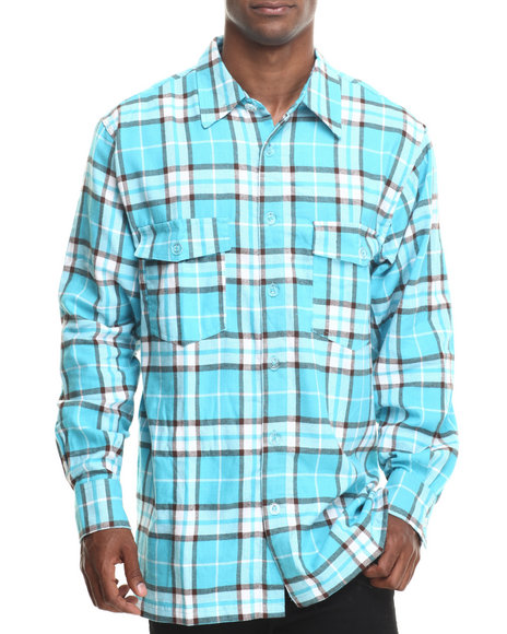 Basic Essentials - Men Teal Two - Pocket Plaid L/S Button-Down