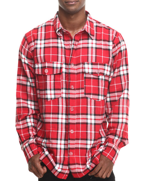 Basic Essentials - Men Red Two - Pocket Plaid L/S Button-Down