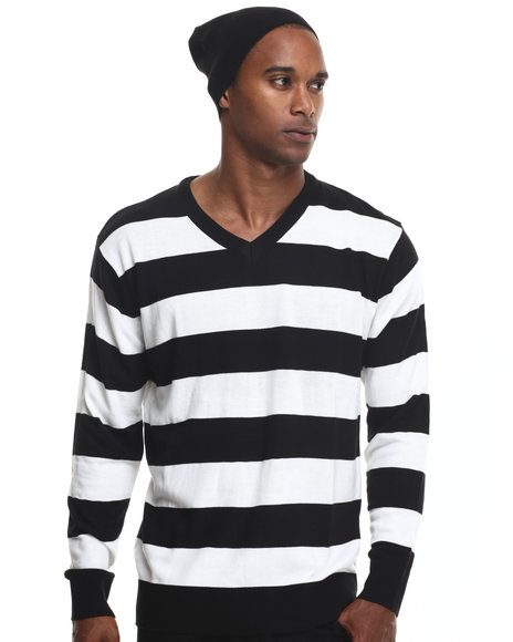 Basic Essentials - Men Black Wide - Stripe Sweater W/ Beanie - $19.99