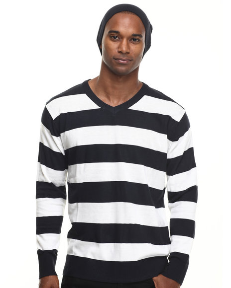 Basic Essentials - Men Navy Wide - Stripe Sweater W/ Beanie