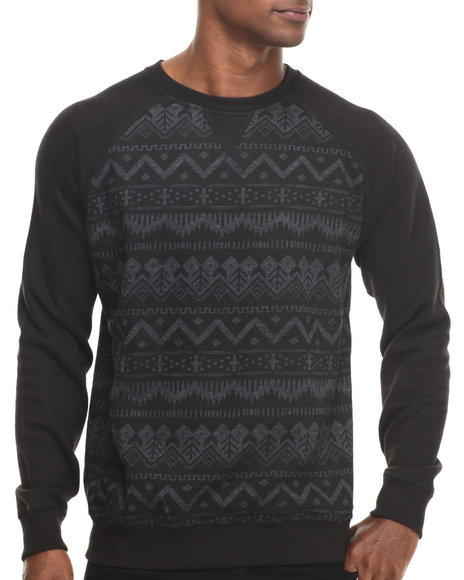 Basic Essentials - Men Black Nordic Crewneck Sweatshirt