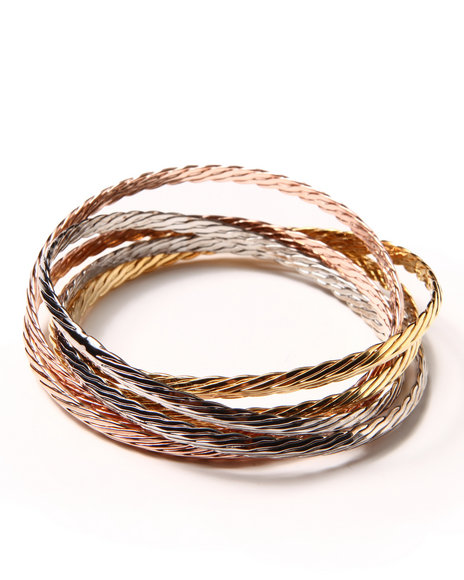 DRJ Accessories Shoppe - Textured 3 Tone Interlock Bangles