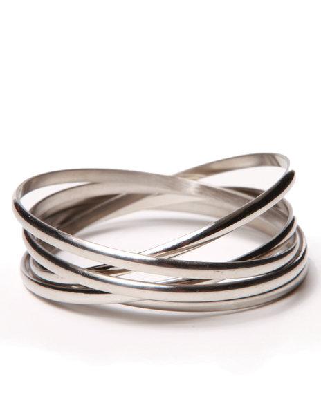 Drj Accessories Shoppe Women Interlocked Stainless Steel Bangles Silver