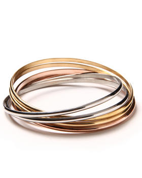 DRJ Accessories Shoppe - Interlocked 3 Tone Stainless Steel Bangles