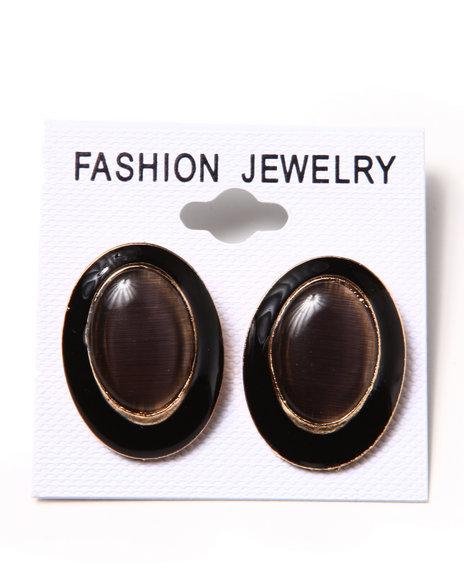 DRJ Accessories Shoppe - Black & Gold Cat Eye Earring