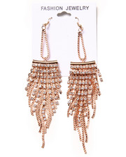 Women - Stone & Chain Chandelier Earrings
