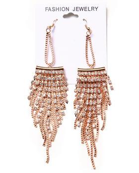 DRJ Accessories Shoppe - Stone & Chain Chandelier Earrings