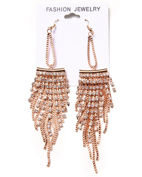 Drj Accessories Shoppe Women Stone & Chain Chandelier Earrings Gold