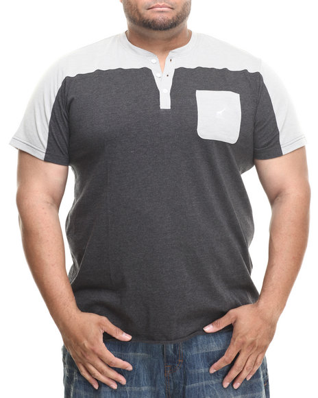 Lrg - Men Charcoal,Grey Biscuits S/S Henley (B&T)