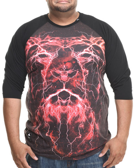 Lrg - Men Black Lion Shocker 3/4 Raglan Tee (B&T)