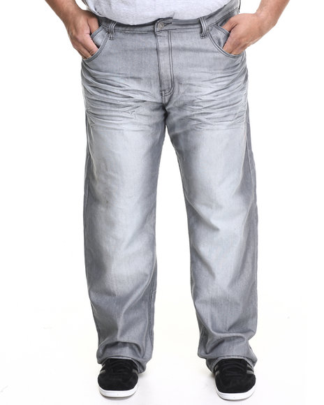 Basic Essentials - Men Grey Slant - Pocket Shiny Wash Denim Jeans (B&T) - $22.99