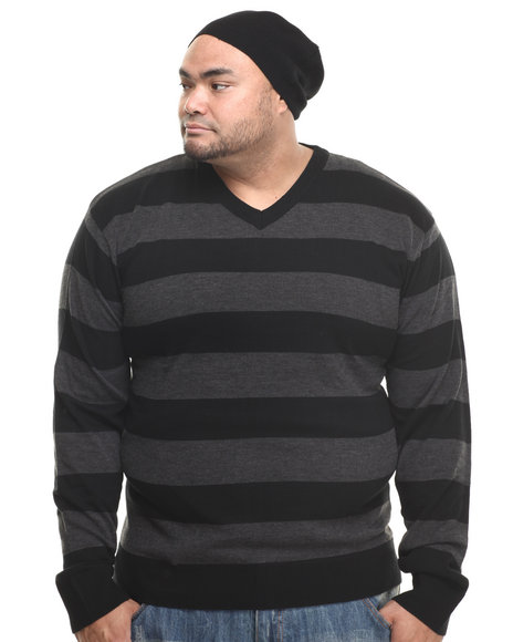 Basic Essentials - Men Black Wide - Stripe Sweater W/ Beanie (B&T)