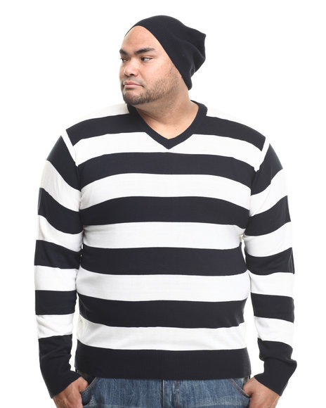 Basic Essentials - Men Navy Wide - Stripe Sweater W/ Beanie (B&T) - $12.99